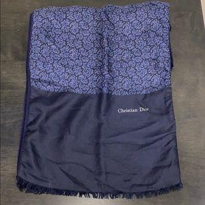 Dior Accessories - CHRISTIAN Dior silk/wool navy opera scarf for men.
